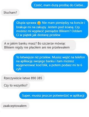 przykładowa rozmowa z oszustwem na BLIK-a